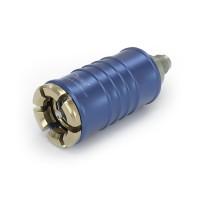 "WEH® Connector TW108 for filling refrigerants during maintenance of automotive air conditioning equipment acc. to SAE J639,  Ø 11, blue (low pressure),  max. 35 bar, inline media inlet, UNF 5/8""-18  male thread (SAE J513 - 45°)"