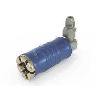 "WEH® Connector TW111 for filling refrigerants on Schrader valves 1/4"" SAE, blue (low pressure), chloroprene seal, max. 42 bar,  90° media inlet UNF 7/16""-20 external thread"
